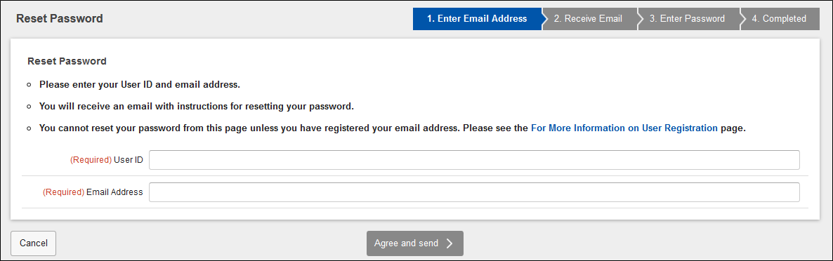 Reset Password (enter Email address)